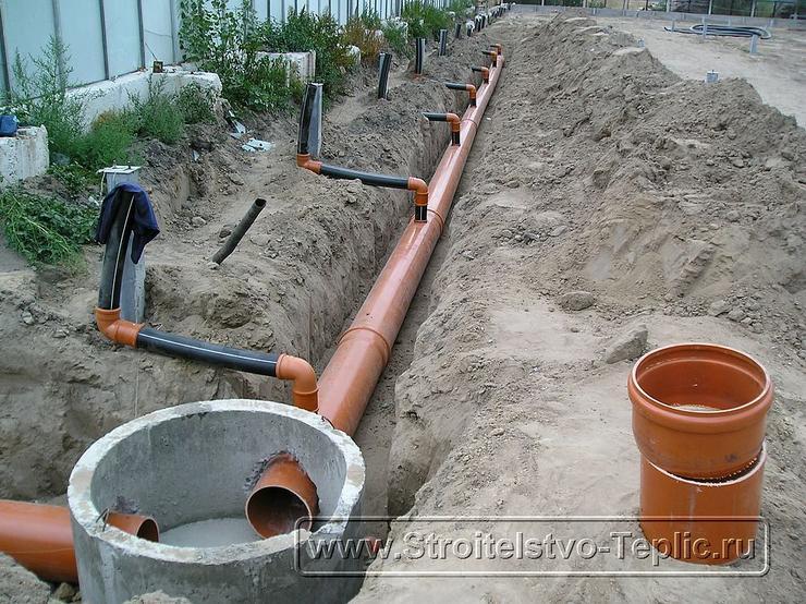 0013 Монтаж системы внутренних водостоков и канализации выполненный при строительстве промышленной теплицы