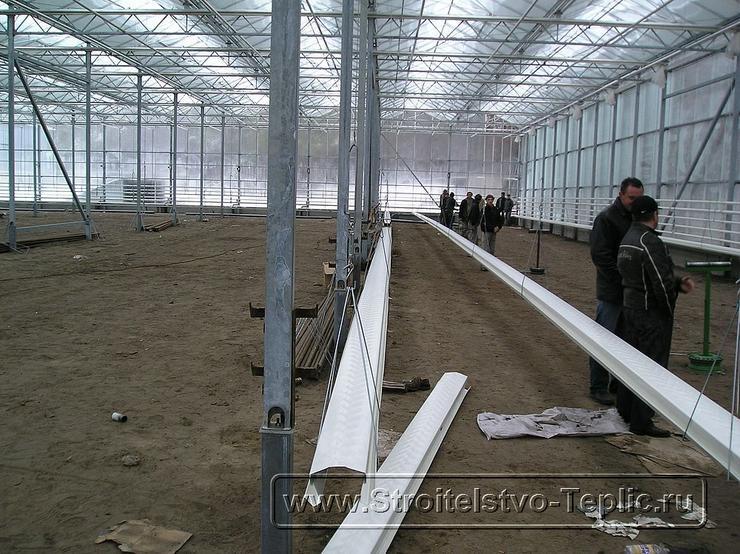 0024 Монтаж подвесных лотков для выращивания томатов в промышленной теплице