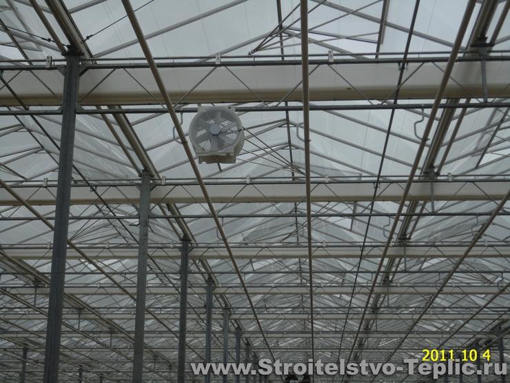 Монтаж осевых вентиляторов в теплице