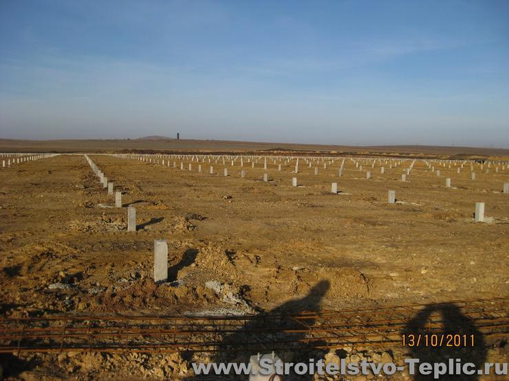 Фундаментное поле под строительство тепличного комплекса