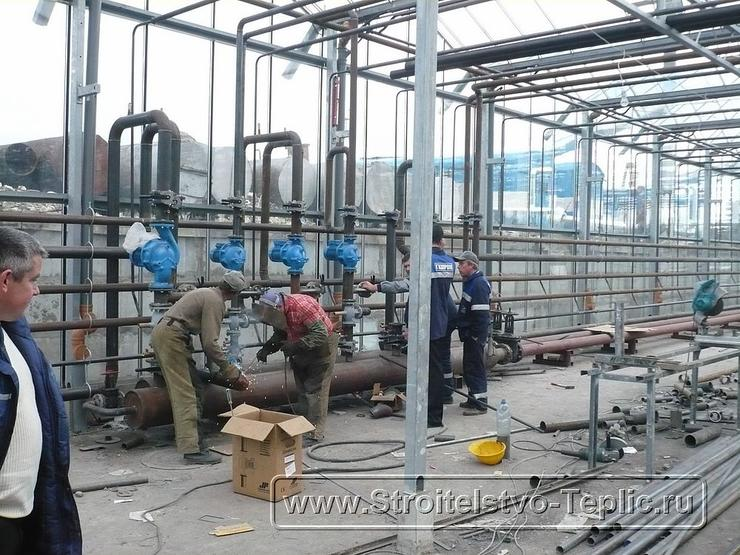 7 Монтаж теплового узла промышленной теплицы