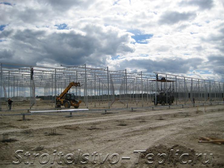 Монтаж стального каркаса тепличного комплекса площадью 20 Га